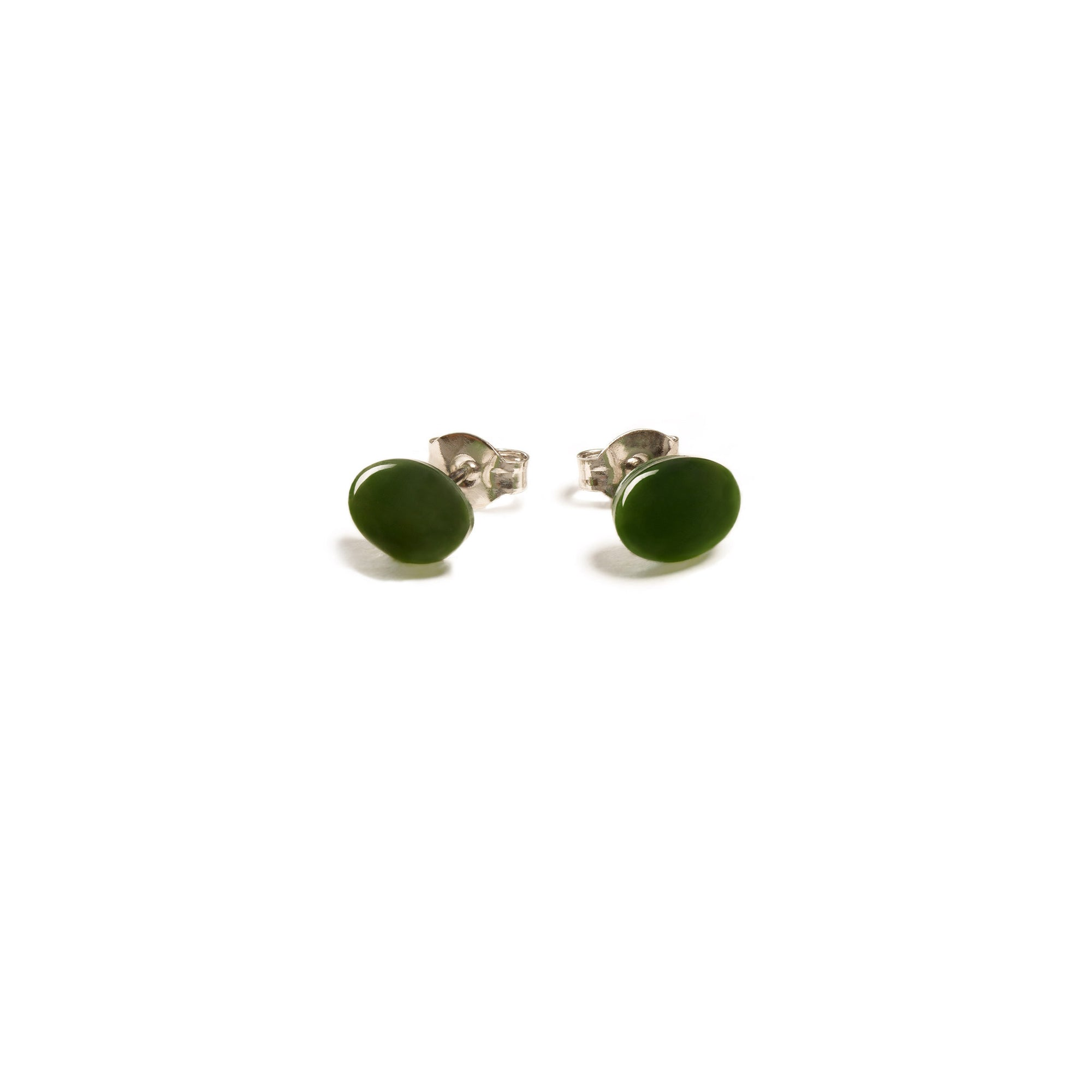 New Zealand Pounamu Oval Stud Earrings