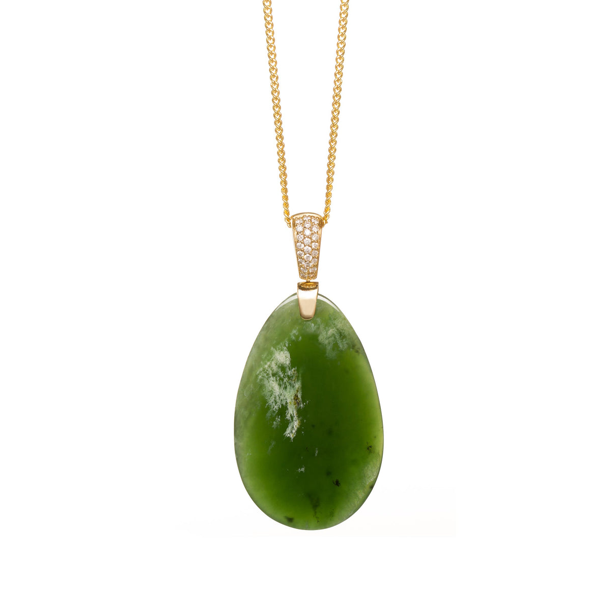 New Zealand Pounamu Diamond & Gold Drop