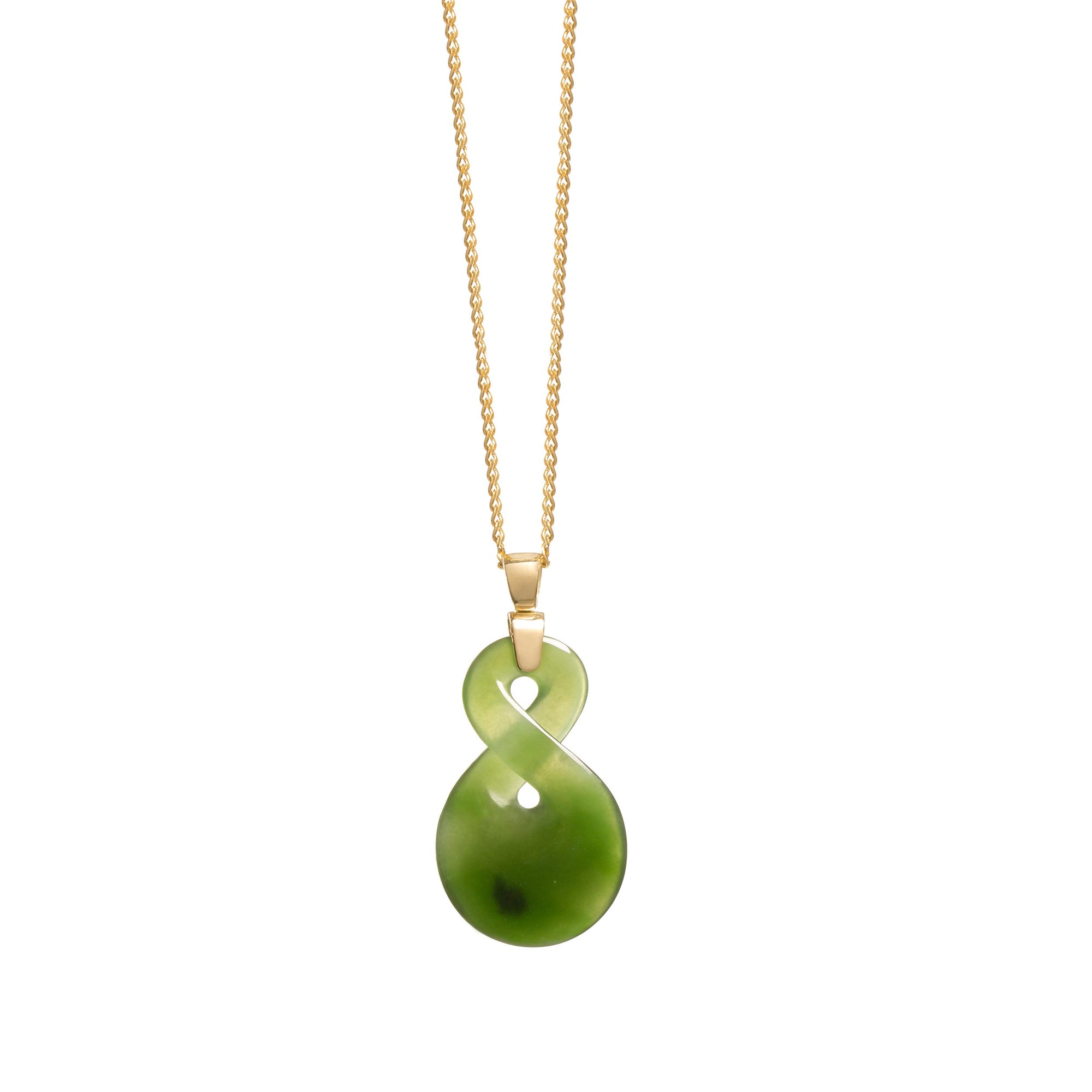 New Zealand Greenstone Small 18CT Gold Twist Necklace