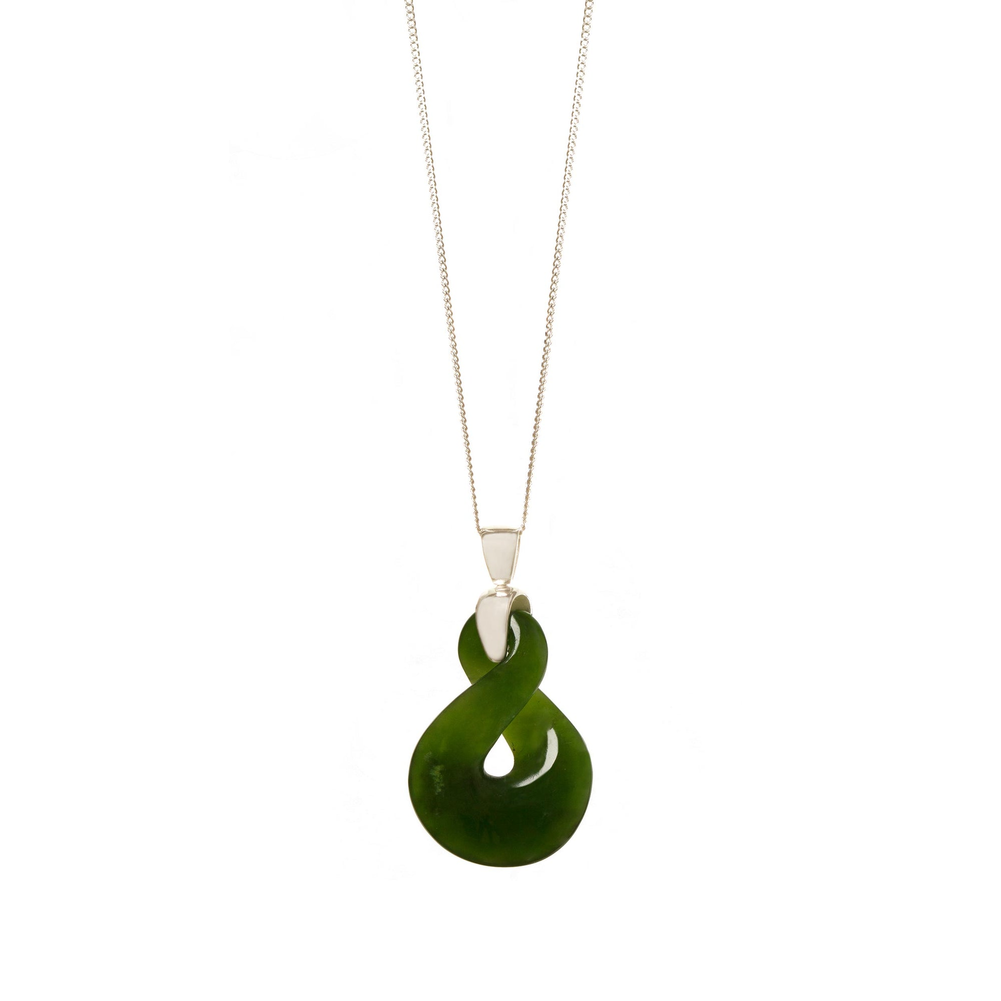 New Zealand Pounamu Single Sliver Twist Necklace