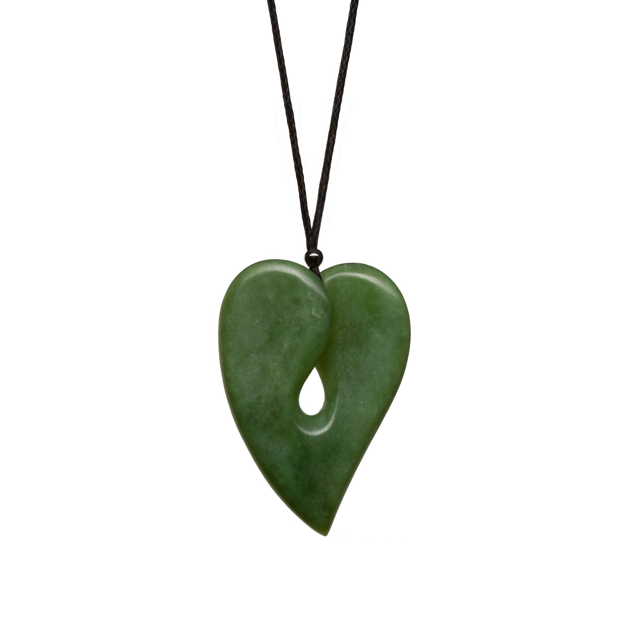 New Zealand Pounamu Contemporary Heart Pendant