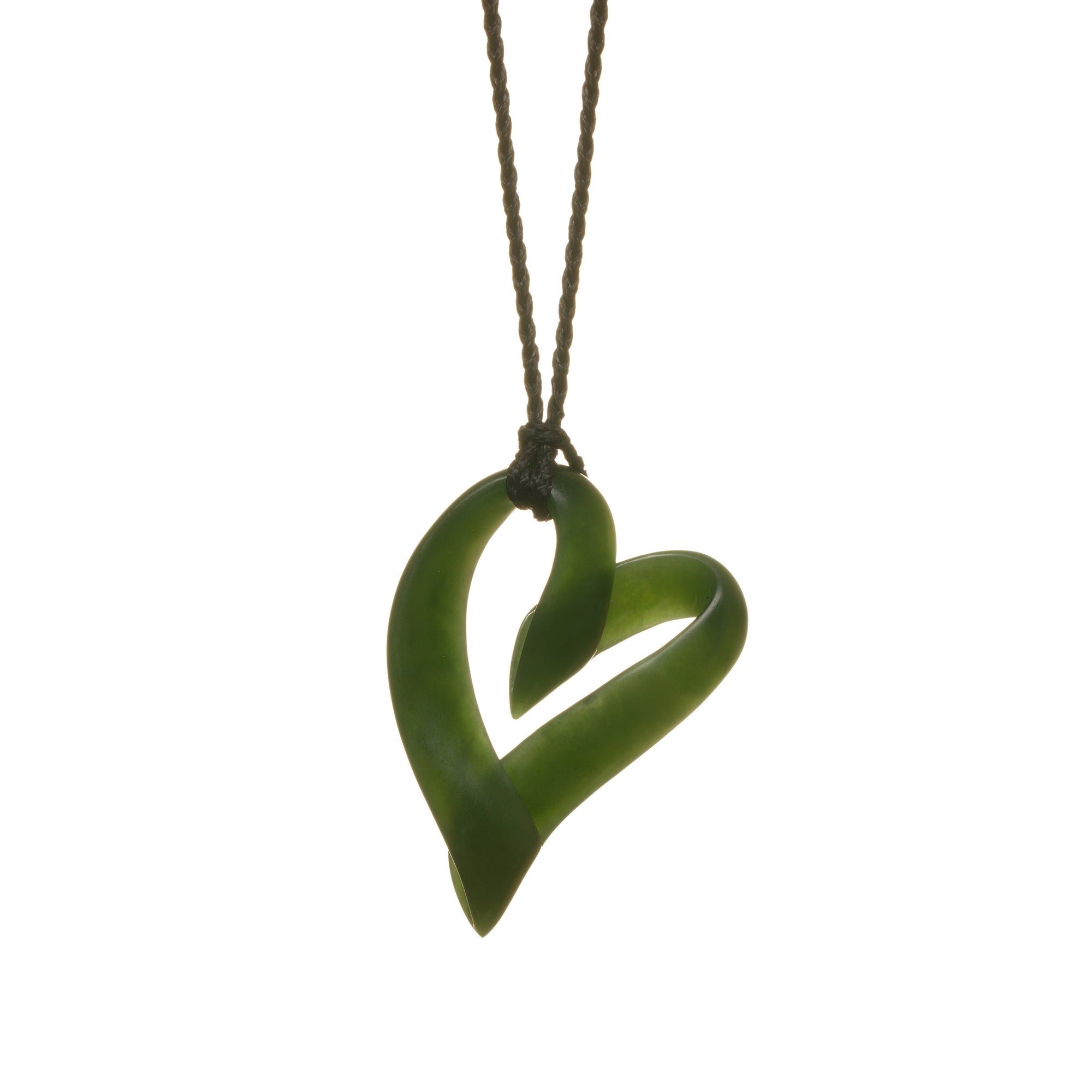 New Zealand Pounamu Ribbon Twist Heart