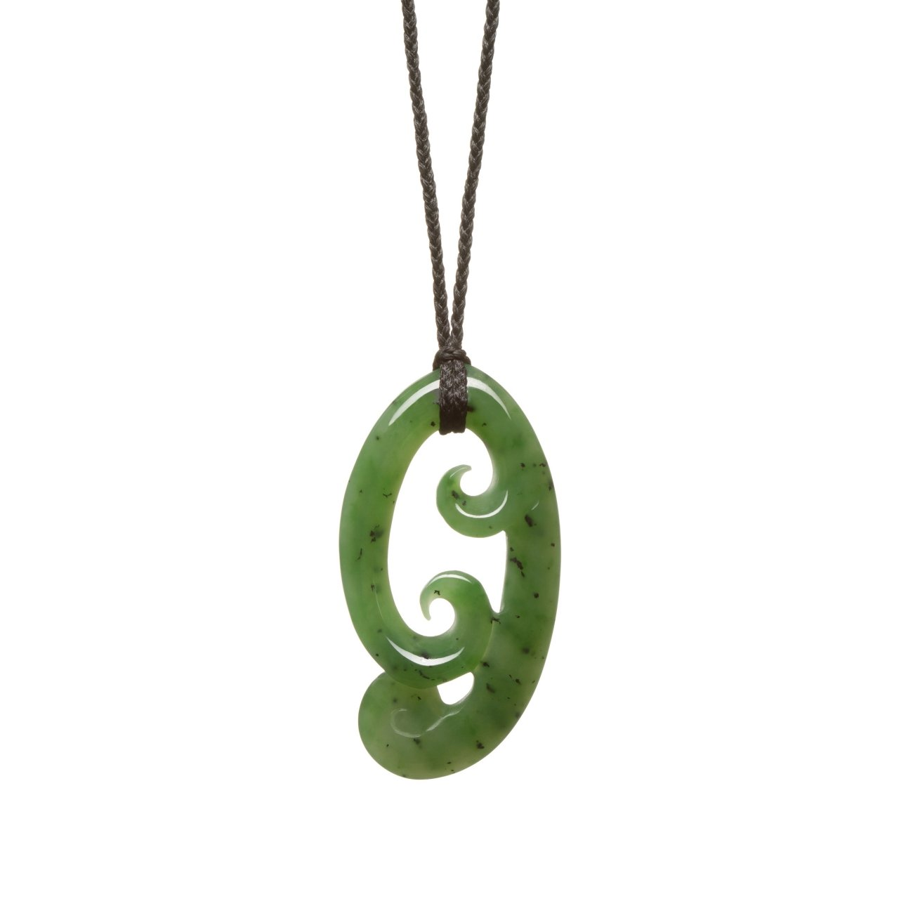 Chinese Jade Triple Koru Necklace