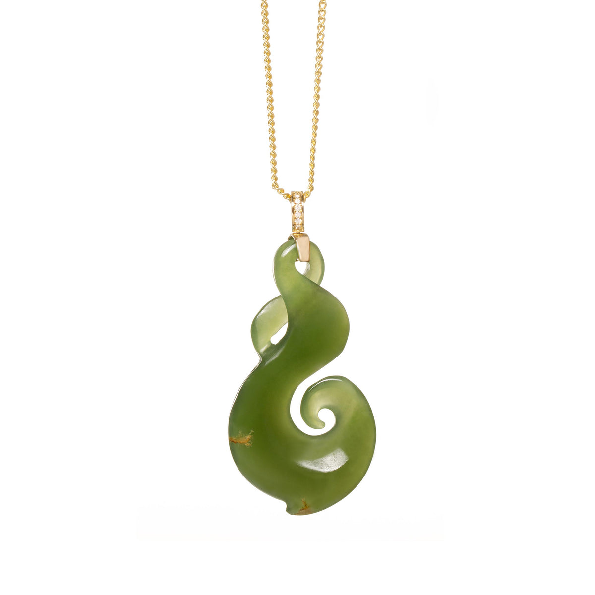 New Zealand Jade & Diamond Twist Hook Necklace