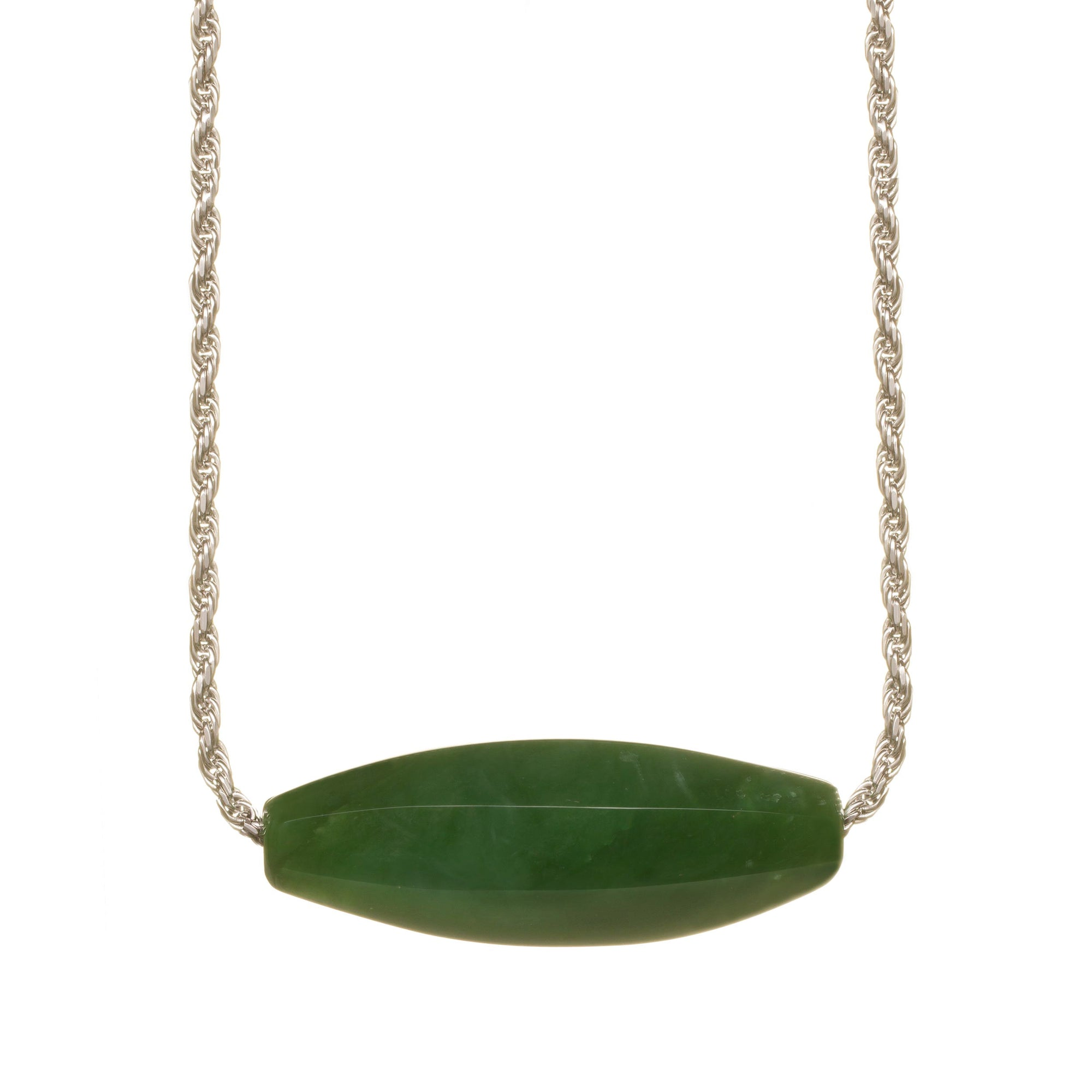 New Zealand Pounamu Faceted Barrel Necklace