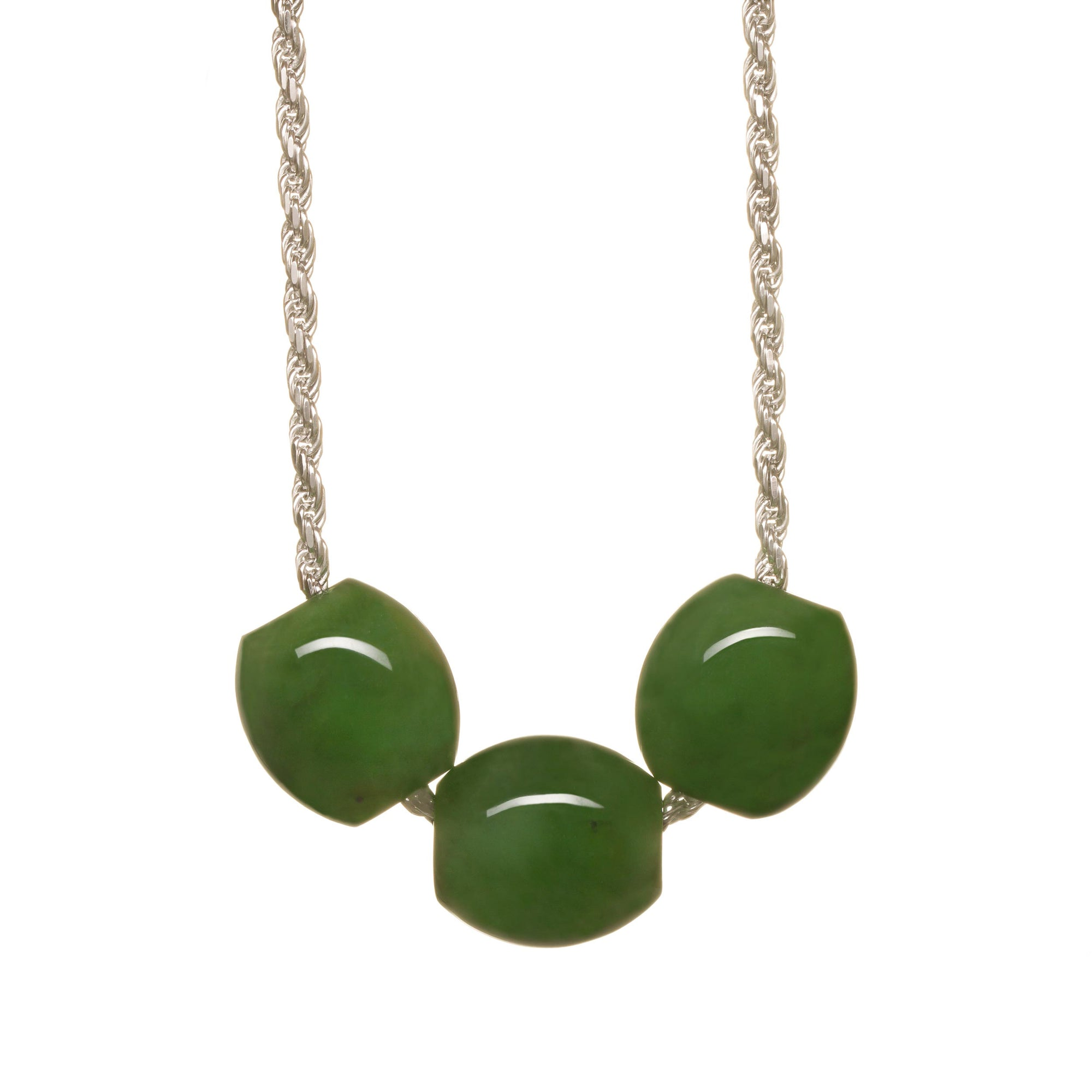 New Zealand Pounamu Triple Bead Necklace