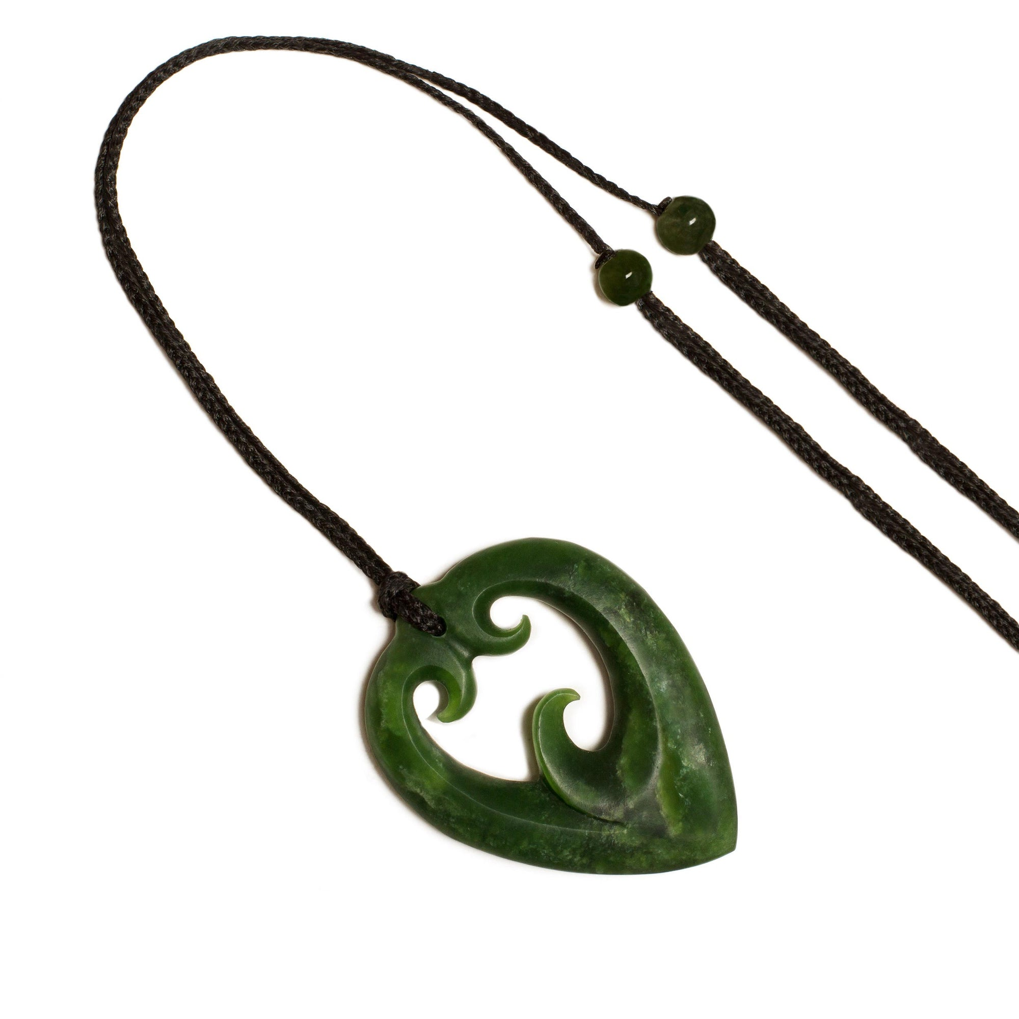 New Zealand Pounamu Triple Koru Heart Pendant