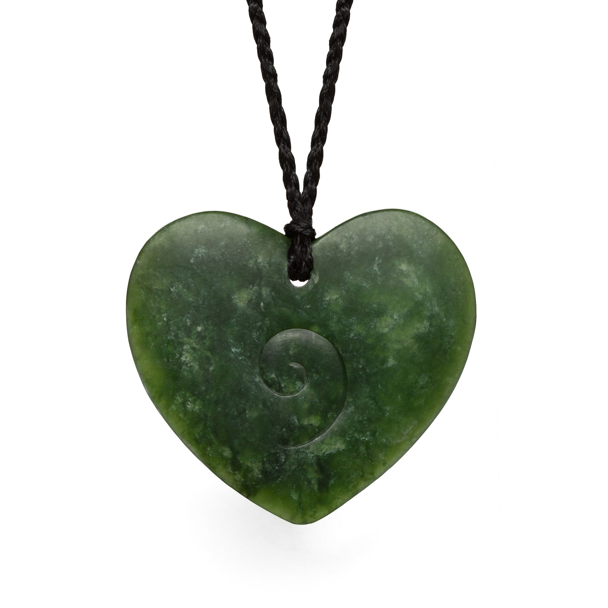 New Zealand Pounamu Heart with Koru Detail.