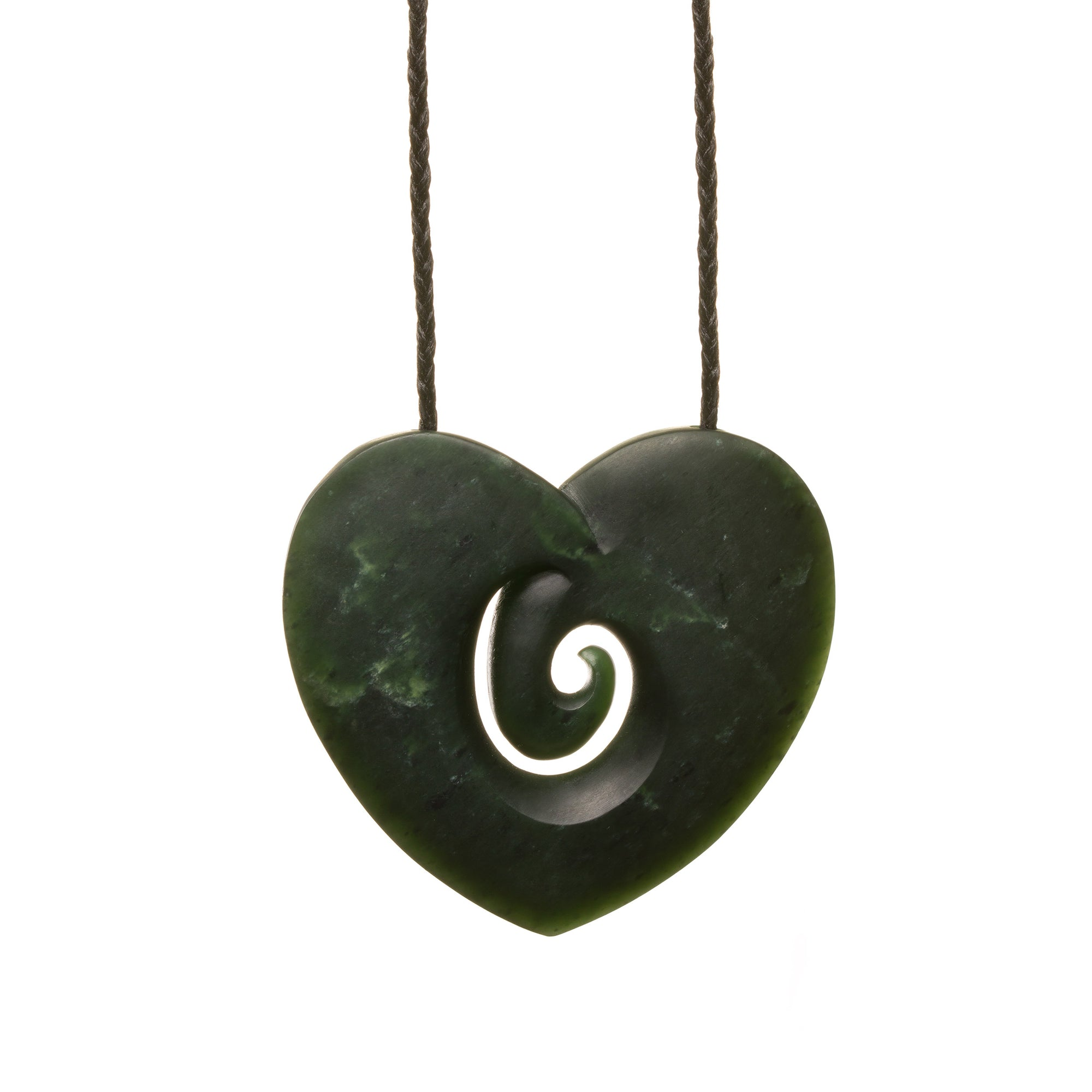 New Zealand Pounamu Large Dark Koru Heart