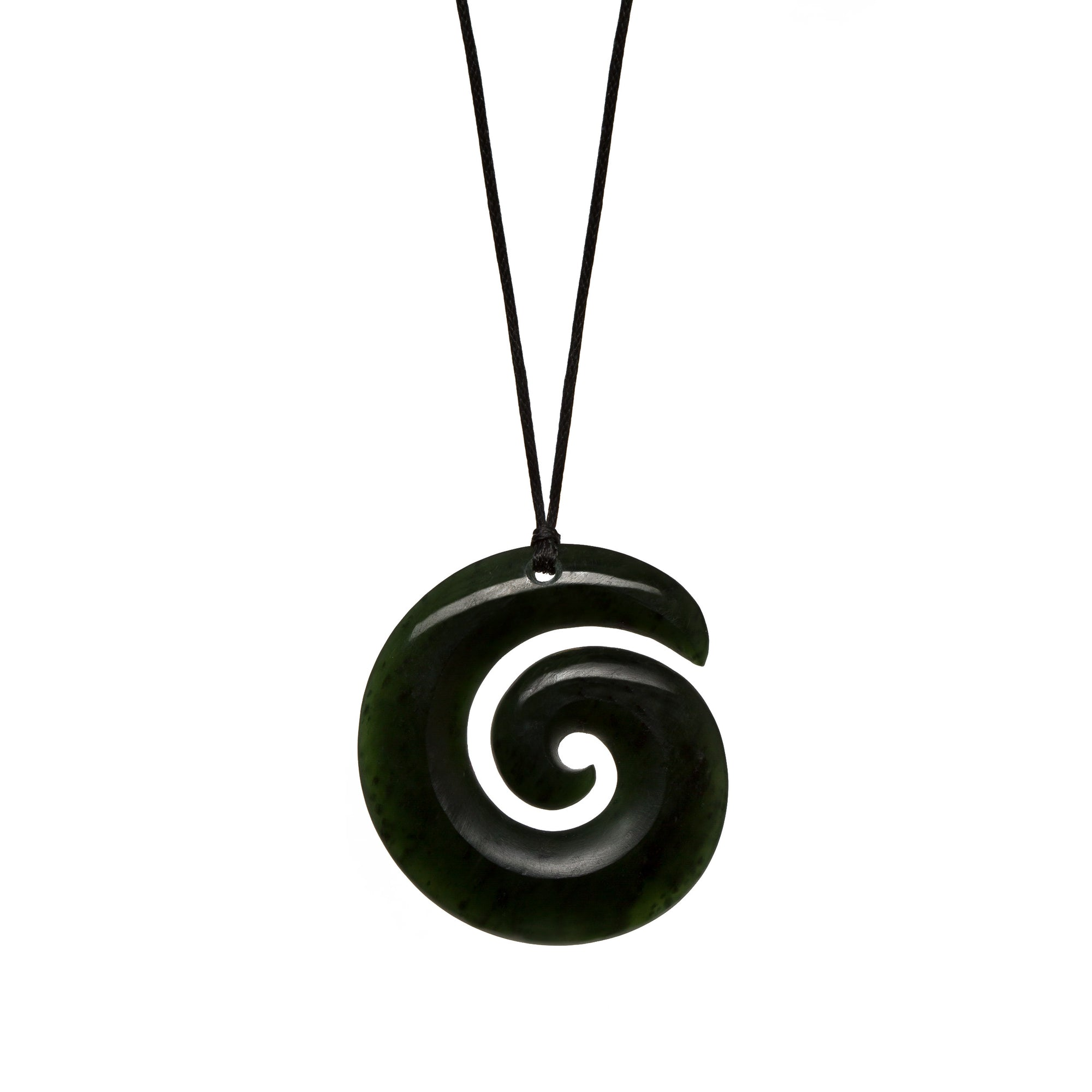 New Zealand Pounamu Dark Green Open Koru