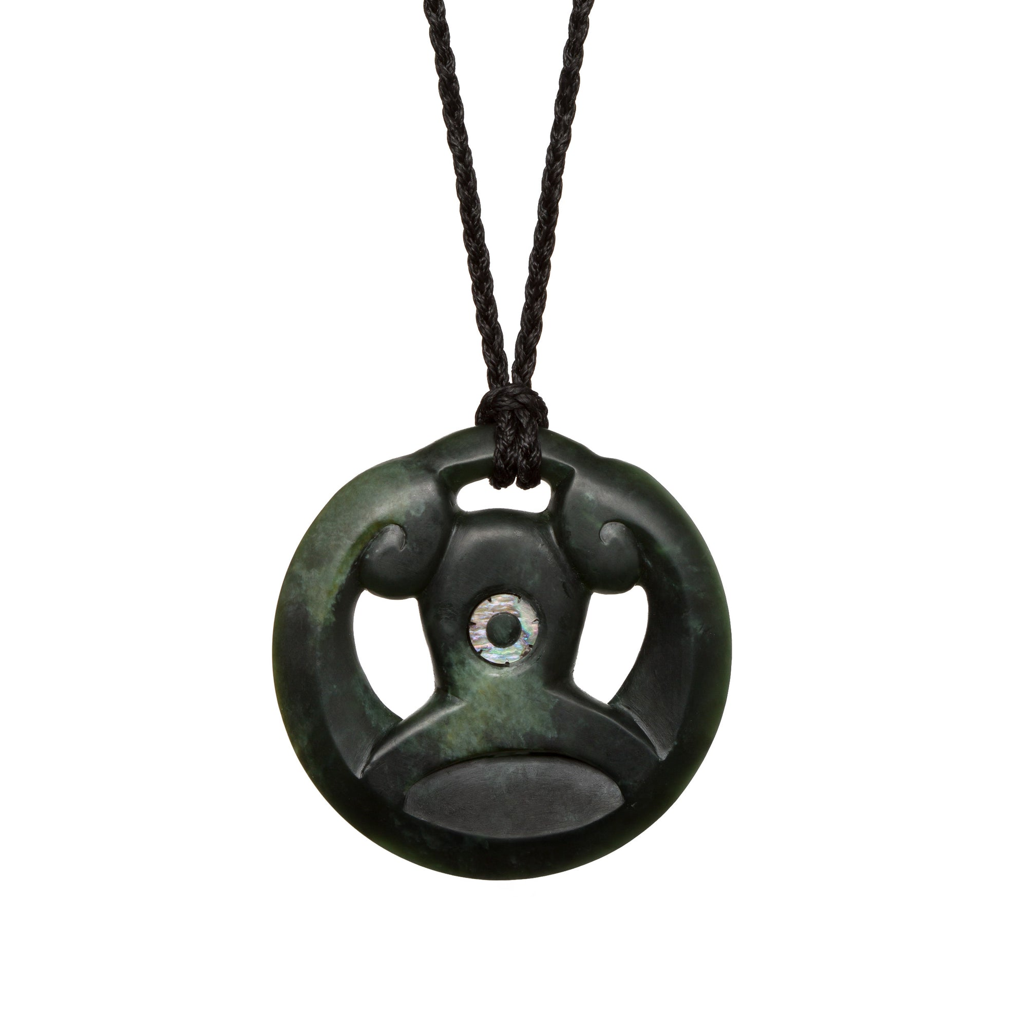 New Zealand Greenstone Manaia Koru Necklace