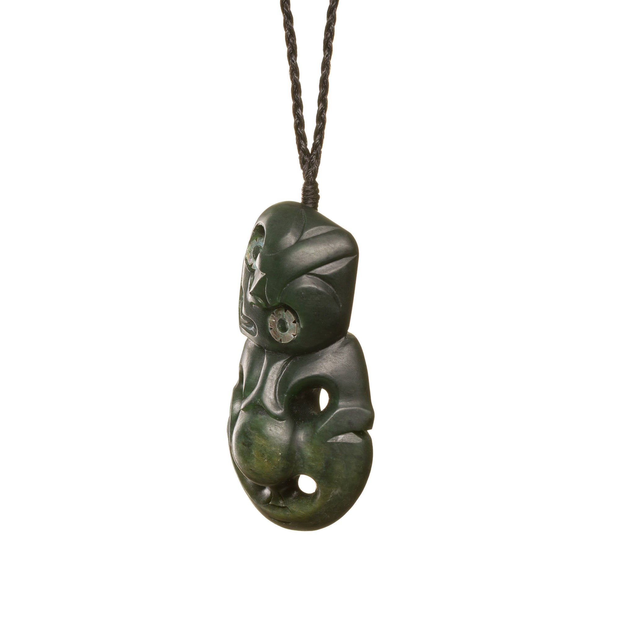 NZ Jade Tiki with Paua Shell Eyes