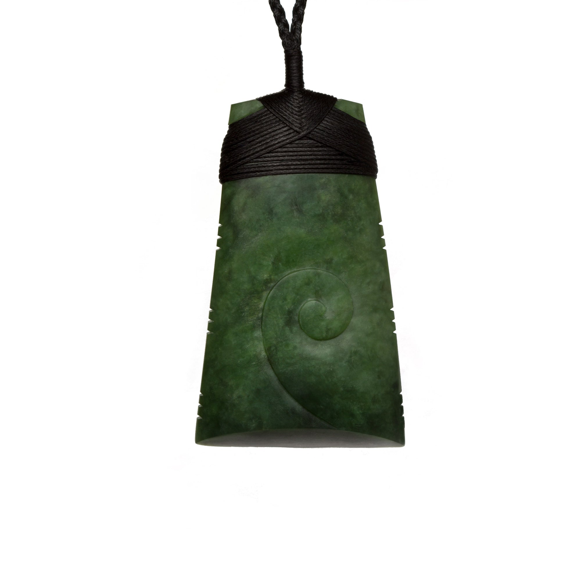 New Zealand Pounamu Toki with Koru Inlay