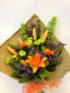 Bouquet in flax wrap