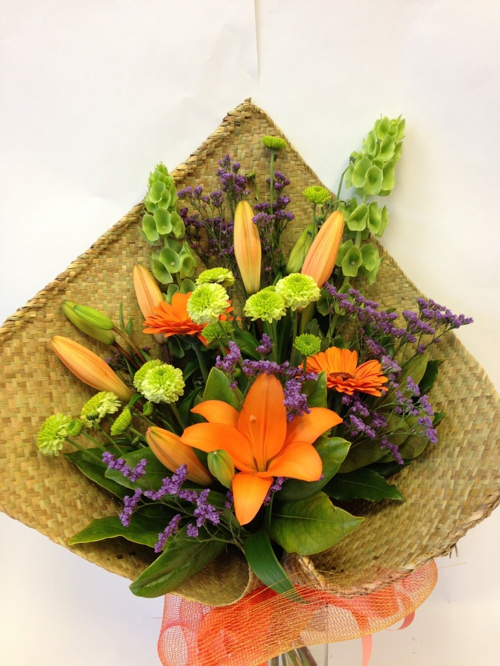Bouquet in flax wrap, Bright woven flax, Whanau Corporate, Businesses, Birthdays