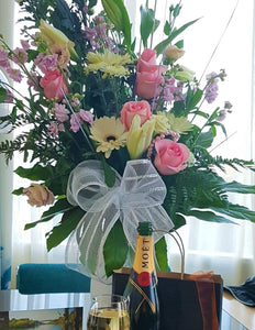 Large vase arrangement, Birthdays, Valentines, Birthdays, Fresh flowers, Wine, Gift