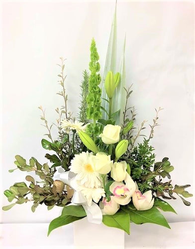 White Large Arrangement  in ceramic container with bells of Ireland, lilies, roses and gerberas., Anniversary, Valentines, sympathy wedding,