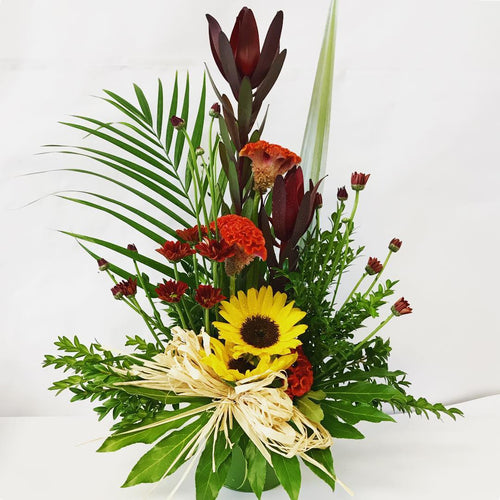 Smart Arrangement, Suitable for a modern office, Meeting room, Corporate, Flaxes, Sunflowers Arrangment.