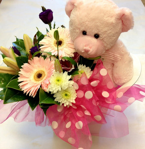 Flowers and Soft Toy, get well, hospital, Retirement, baby,
