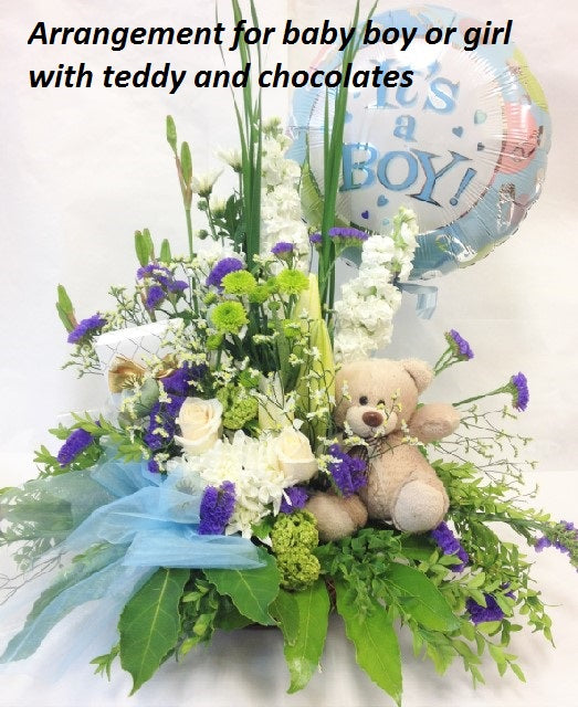 Baby boy or girl arrangement, baby, hospital, congratulations,
