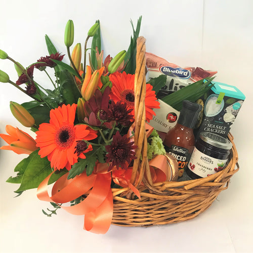 Gourmet Basket and Flowers, Christmas, Get well, Corporate, gourmet, Gift