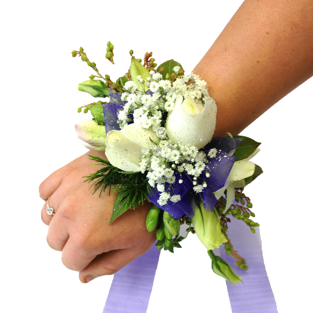 White roses & gypsophila, School Ball, Wrist Corsage,