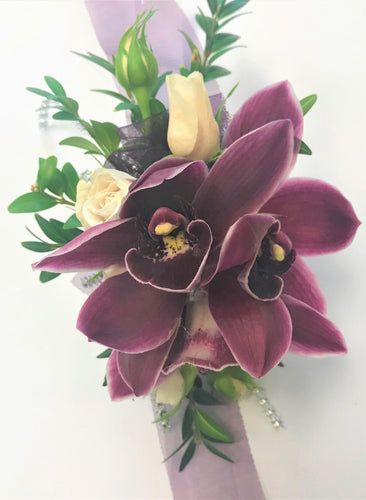 Burgundy Wrist Corsage with orchids
