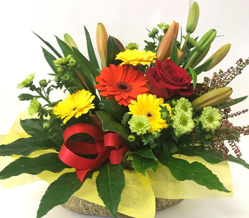 Kete bag with arrangement of flowers, get well, hospital, Retirement, Birthday, Whanau gift