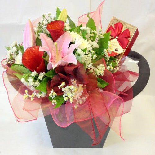 Bloom Box with flowers and chocolates