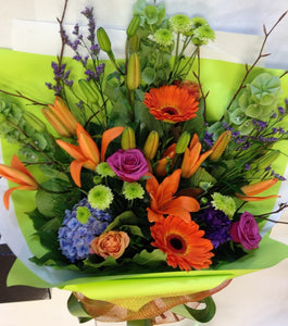 Handtied bright flowers, get well, hospital, Retirement, Birthday, bouquets, Whanau gift,