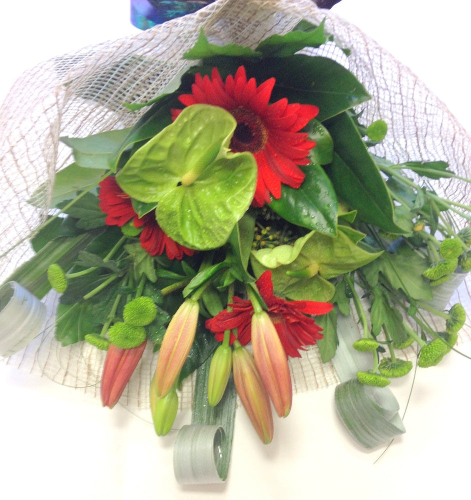 Red&Green handtied bouquet wrapped in mesh, Christmas,  Whanau gift, Corporate, Birthday, Bouquets