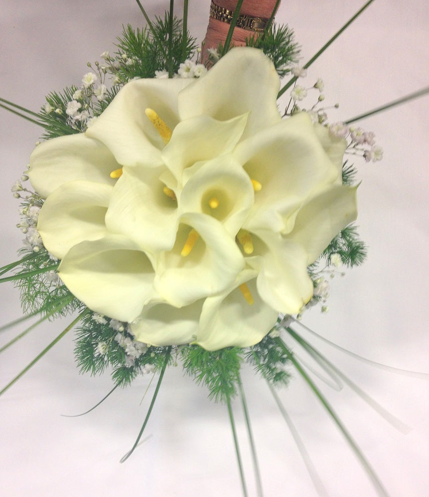 Hand-tied Callas with grass, Wedding, Bride, Bridesmaid, Wedding celebration, Wedding flowers