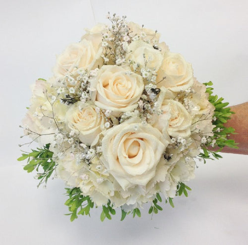 Bridal posy of Vendella roses with hydrangea and pearls, Wedding, Bride, Bridesmaid, Wedding celebration, Wedding flowers