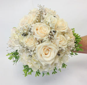 Bridal posy of Vendella roses with hydrangea and pearls