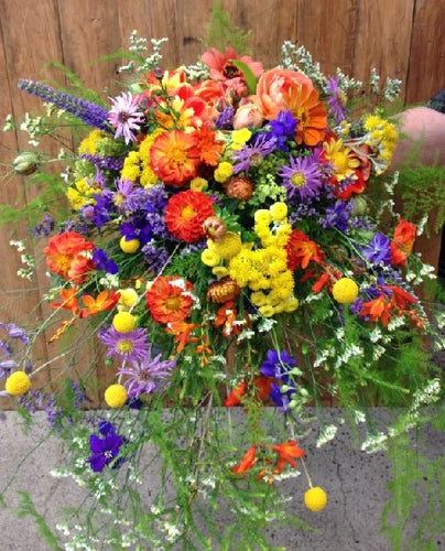 Gathered country Bouquet, Wedding, Bride, Bridesmaid, Wedding celebration, Wedding flowers, Vibrant colours, Large bouquet
