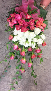 Raspberry & white roses handtied, Wedding, Bride, Bridesmaid, Wedding celebration, Wedding flowers, Very large bouquet, Roses,