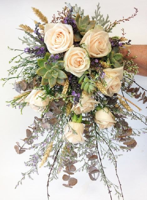Rose and succulent hand tied,  peach roses, succulents and misty, Wedding, Bride, Bridesmaid, Flower girl
