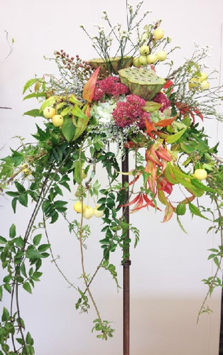 Arrangement on stand, Table arrangement, Stand, Church, Wedding, Reception table flowers