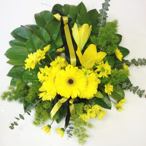 Black and Yellow Wreath, Sympathy, Funeral, Yellow