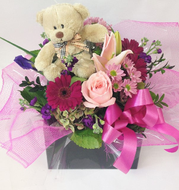 Teddy and flowers, get well, hospital, Retirement, baby,baby, hospital, congratulations, Mothers day, Arrangements,