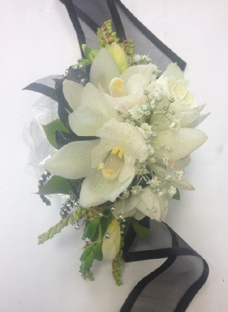 Mini cream orchids with black, School Ball, Wrist Corsage,