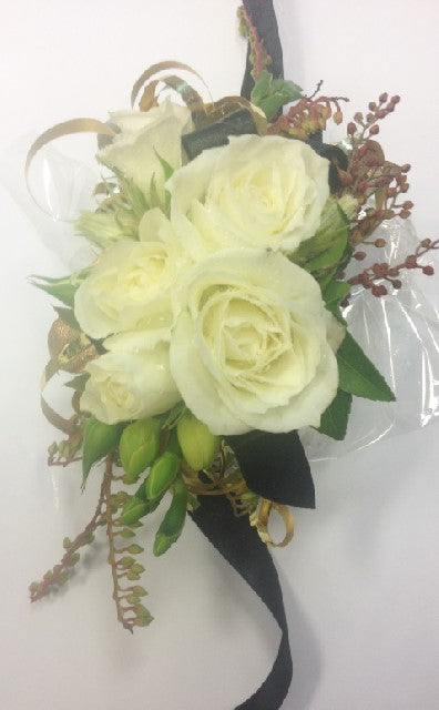 Mini roses with gold strands, School Ball, Wrist Corsage,