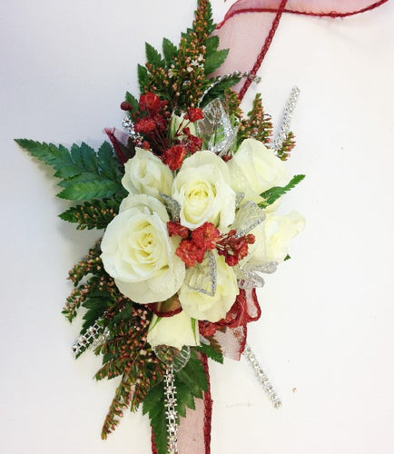 White with red wrist corsage