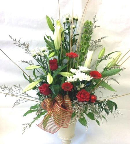 Arrangement of lillies roses and gerberas in a stunning ceramic vase for a special lady, Valentines, Anniversary, Wife, Romantic flowers