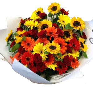 Bright sunflowers and gerberas, Mothers day, Valentines day, Christmas, Anniversary, Christmas, bouquets,