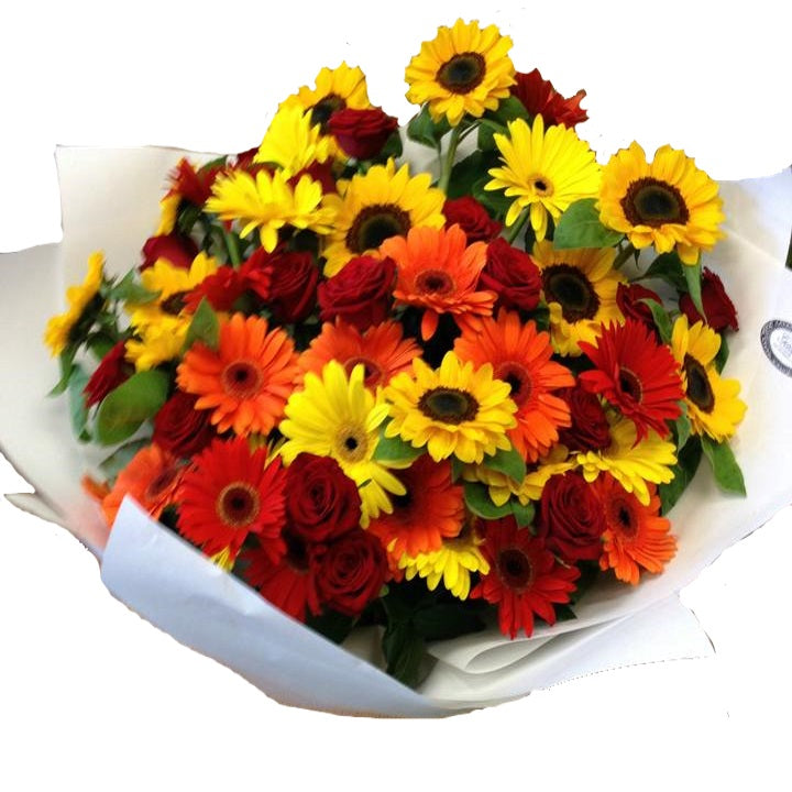 Bright sunflowers with roses and gerberas