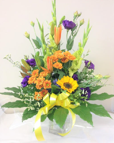 Tall glass vase arrangement, Using roses Lithuanians chrysanthemums and gerberas, Vibrant flowers, Arrangements