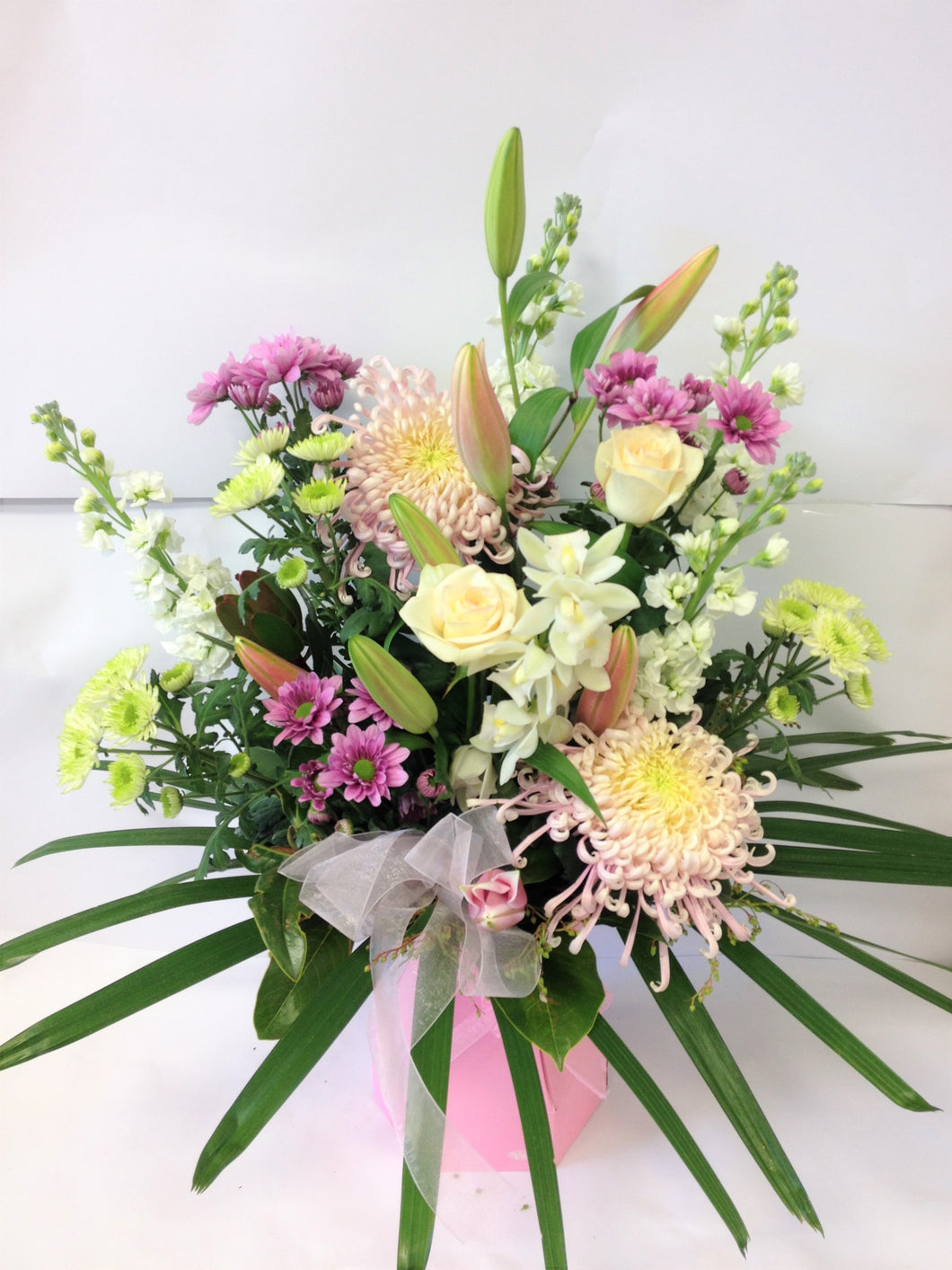 Soft coloured waterbox, Mothers day, Sympathy Water box flowers,