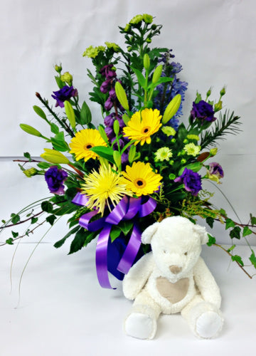 Sunny & Purple Waterbox, get well, hospital, Retirement, baby, hospital, congratulations,