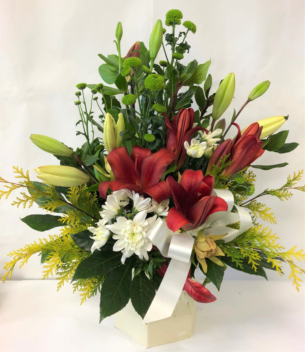 Water box, Hospital flowers, Get well, Birthday, Anniversary, flowers, lillies
